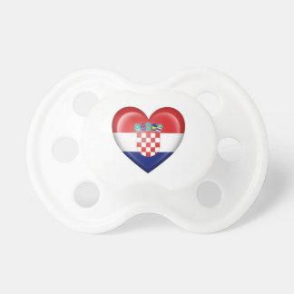 Croatian Heart Flag on White Baby Pacifier