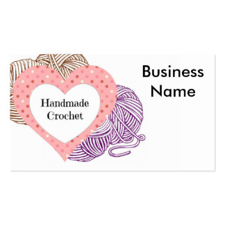 Crochet biz Card with yarns and Heart Shaped logo Double-Sided Standard Business Cards (Pack Of 100)