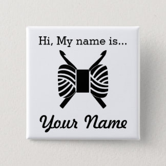 Crochet Craft Party Name Tag 2 Inch Square Button
