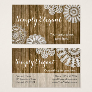 Crochet Doilies on Rustic Wood Country Farmhouse Business Card