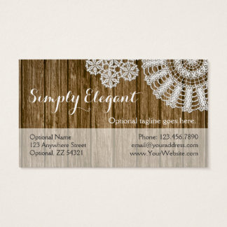 Crochet Doilies on Rustic Wood - Simply Elegant Business Card