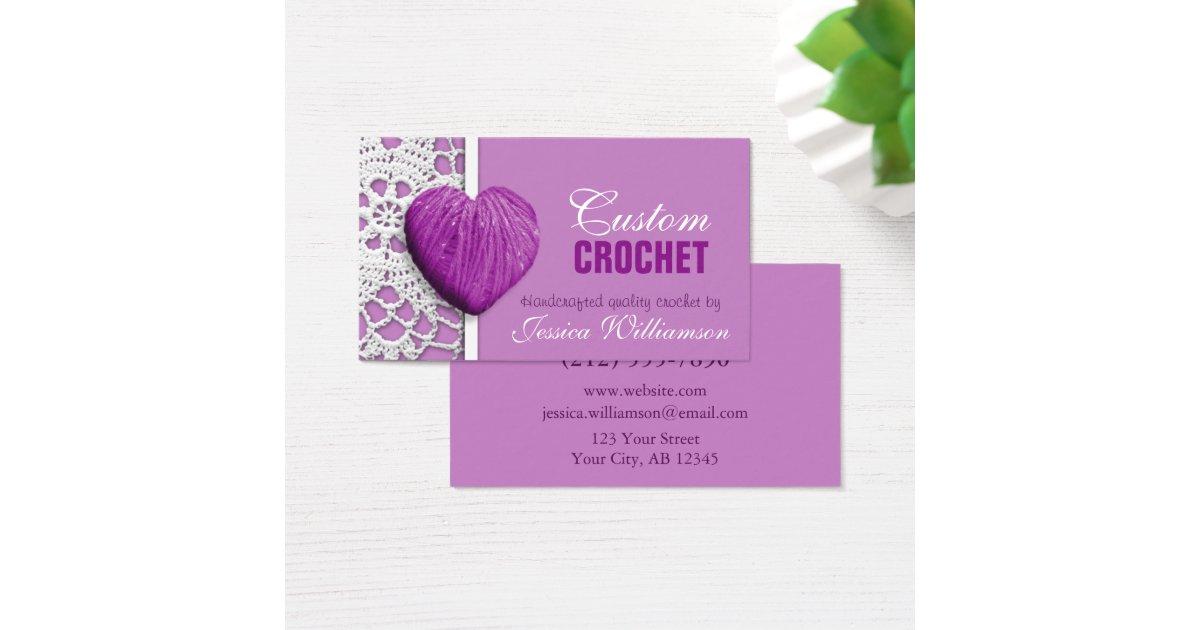 Crochet heart shaped yarn purple business cards zazzle for Heart shaped business cards