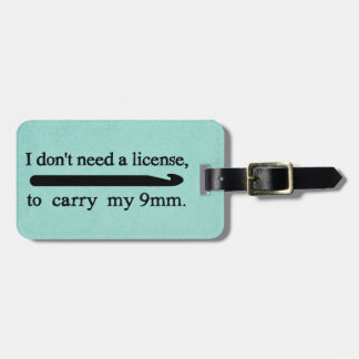 Crochet Hook License Crafts Teal Texture Luggage Tag