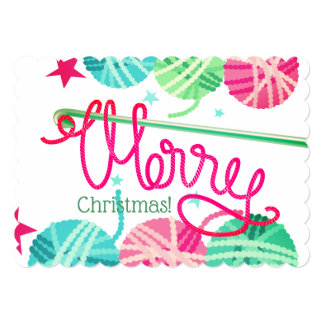 Crochet hooks loopy yarn Merry Christmas card