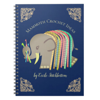 Crochet hooks yarn elephant crafts pattern binder spiral notebook