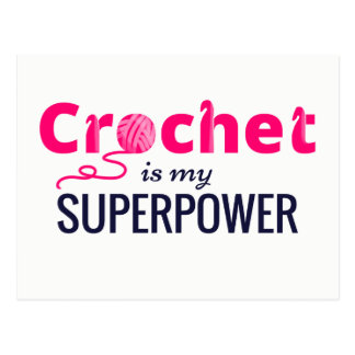 Crochet is My Superpower in Pink Postcard