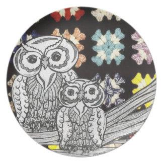 Crochet Owls Plate
