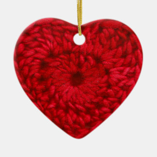 Crochet Red Handmade Yarn Heart Crafts Ceramic Ornament