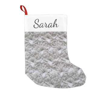 Crochet Shell Stitch Texture / Name Small Christmas Stocking