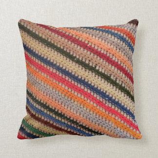 Crochet Stripes Throw Pillow