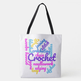 Crochet Typography Abstract Word Cloud Colors Text Tote Bag