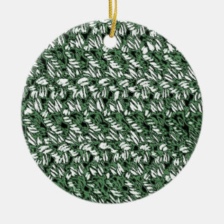 Crocheted-Look on Round Ceramic Ornament