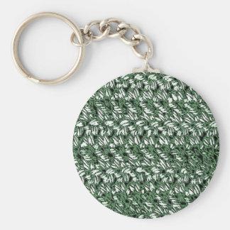 Crocheted Style Basic Round Button Keychain