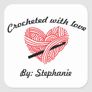 """Crocheted with Love"" Yarn Heart Square Sticker"
