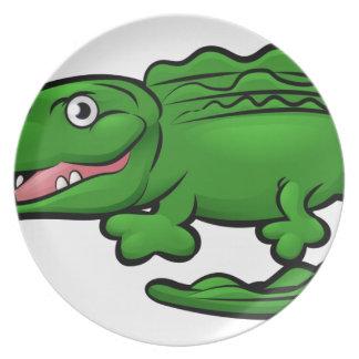 Crocodile Alligator Animal Cartoon Character Plate