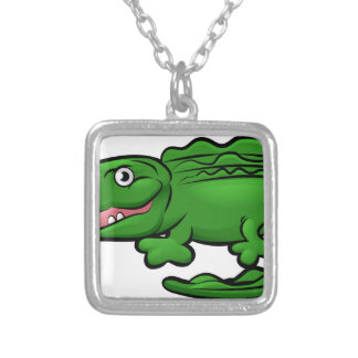 Crocodile Alligator Animal Cartoon Character Silver Plated Necklace