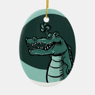 crocodile blue ceramic oval ornament