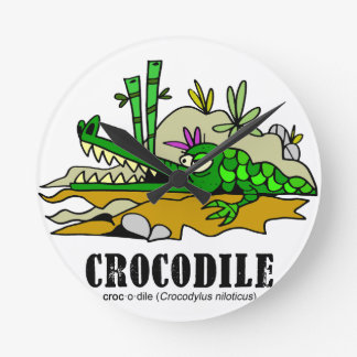 Crocodile by Lorenzo © 2018 Lorenzo Traverso Round Clock