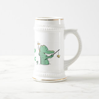 Crocodile Cartoon Birthday Beer Stein