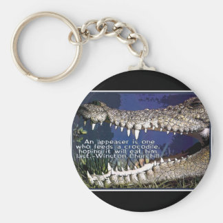 CROCODILE QUOTE - WINSTON CHURCHILL APPEASER KEYCHAIN