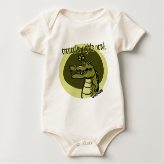 crocodile rights now green baby bodysuit