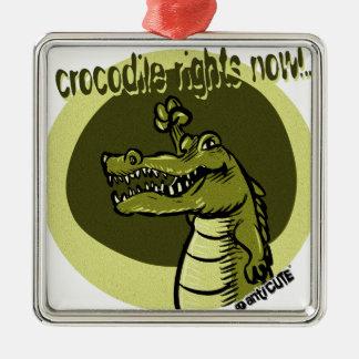 crocodile rights now green Silver-Colored square ornament