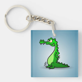 Crocodile Single-Sided Square Acrylic Keychain