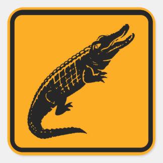 Crocodiles Australia Sign (pack of 6/20) Square Sticker