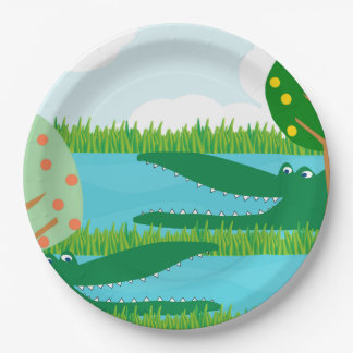 Crocodiles in a Swamp Paper Plate