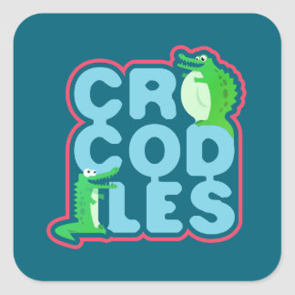 Crocodiles with two happy crocs - blue letters square sticker