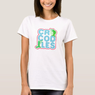 Crocodiles with two happy crocs - blue letters T-Shirt