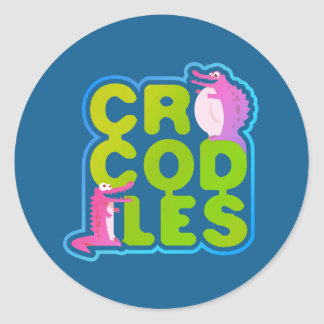 Crocodiles with two happy crocs - green letters classic round sticker