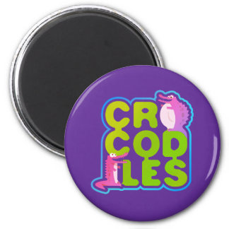 Crocodiles with two happy crocs - green letters magnet
