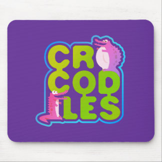Crocodiles with two happy crocs - green letters mouse pad