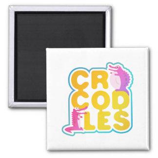 Crocodiles with two happy crocs magnet