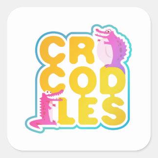 Crocodiles with two happy crocs square sticker
