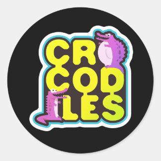 Crocodiles with two happy crocs - vivid classic round sticker