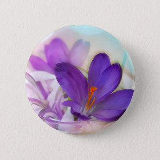 Crocus and Lily of the Valley Floral Arrangement . 2 Inch Round Button