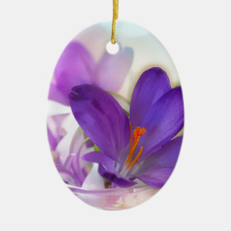 Crocus and Lily of the Valley Floral Arrangement . Ceramic Oval Ornament