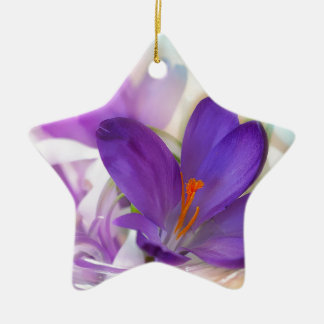 Crocus and Lily of the Valley Floral Arrangement . Ceramic Star Ornament