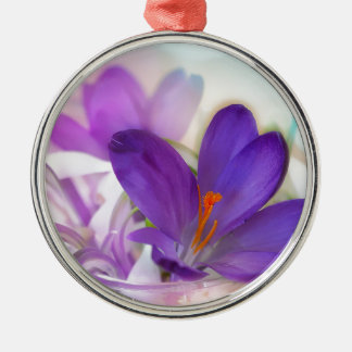 Crocus and Lily of the Valley Floral Arrangement . Metal Ornament