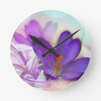 Crocus and Lily of the Valley Floral Arrangement . Round Clock