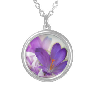 Crocus and Lily of the Valley Floral Arrangement . Silver Plated Necklace
