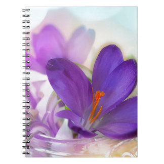 Crocus and Lily of the Valley Floral Arrangement . Spiral Notebook