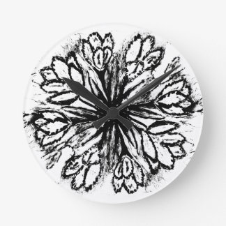 Crocus Flowers Painting Abstract Clock