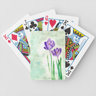 Crocus Flowers Painting Bicycle Playing Cards