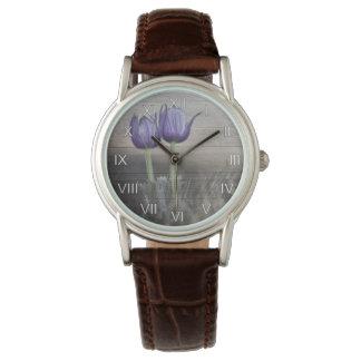 Crocus Flowers Weathered Wood Watch