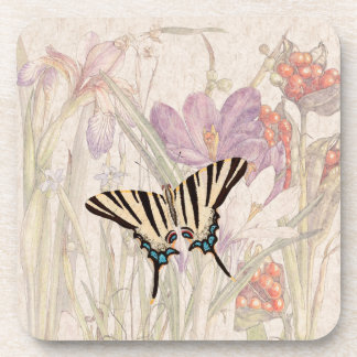 Crocus Iris Flowers Wildlife Butterfly Coaster