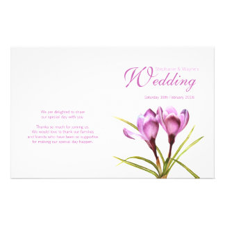 Crocus purple floral wedding programme flyer