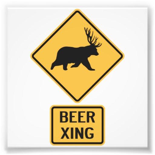 Croisement de bière de cerfs communs d'ours photographes